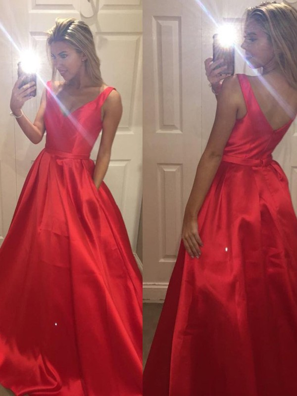 Stunning A-Line V-Neck Sleeveless Satin Sweep/Brush Train Dress