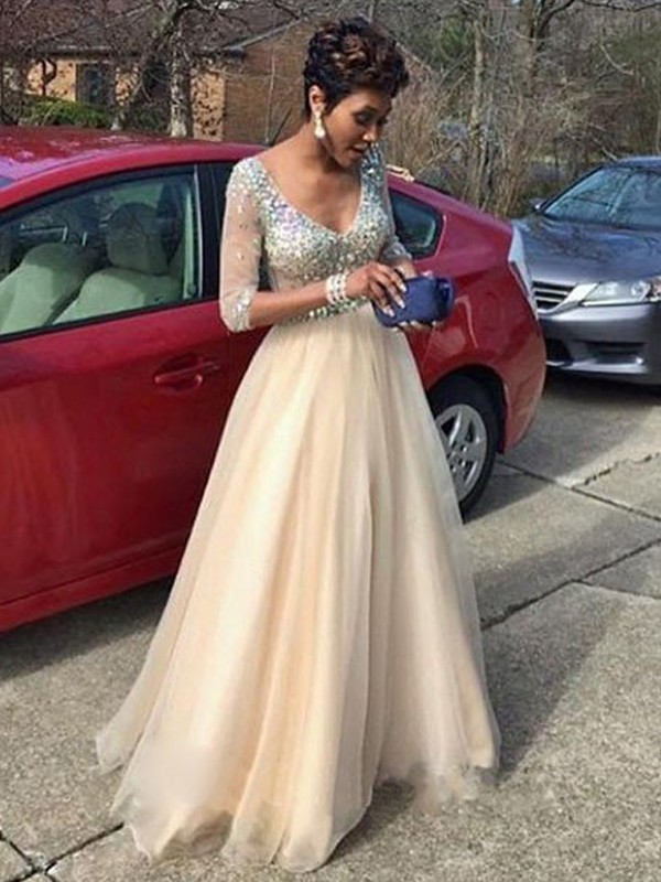 Stunning A-Line V-Neck Long Sleeves Floor-Length Tulle Dress