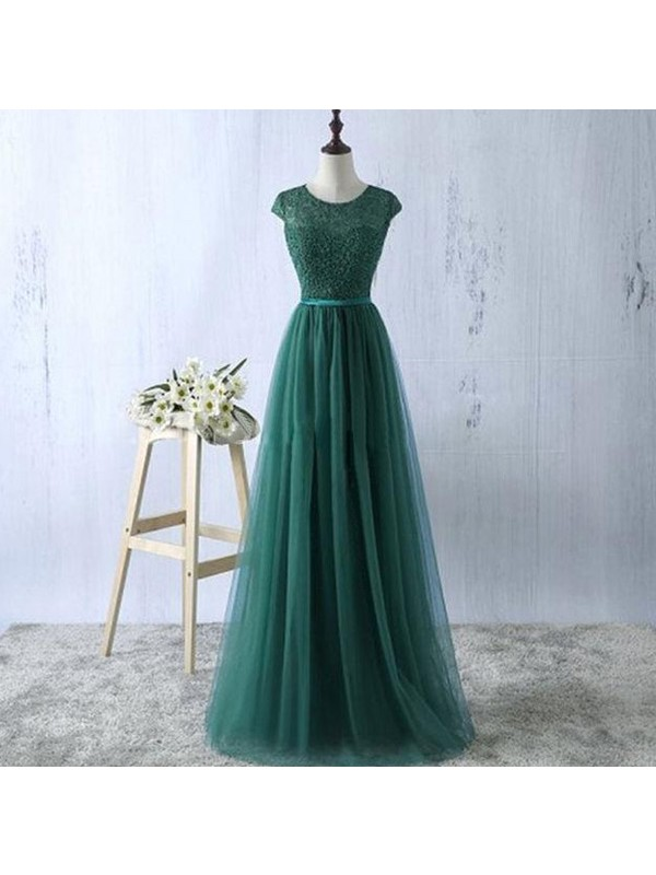 Perfect A-Line Scoop Sleeveless Tulle Floor-Length Dress