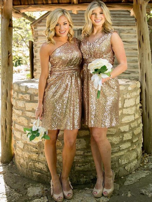 Discount Sheath Sleeveless Sequins Short/Mini Bridesmaid Dress
