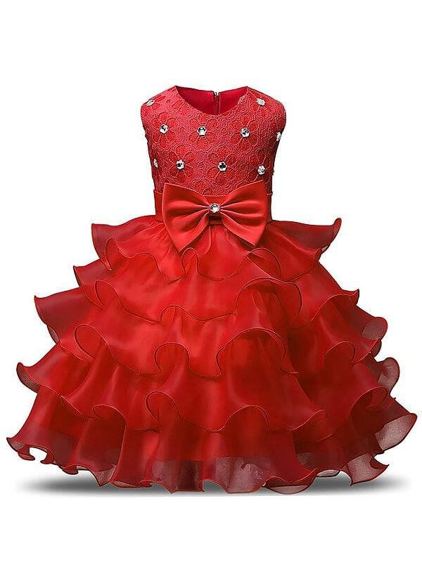 Chic Ball Gown Sleeveless Scoop Tea-length Organza Flower Girl Dress