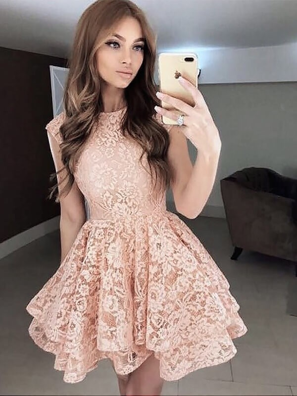 Chic A-Line Scoop Sleeveless Lace Short/Mini Dress