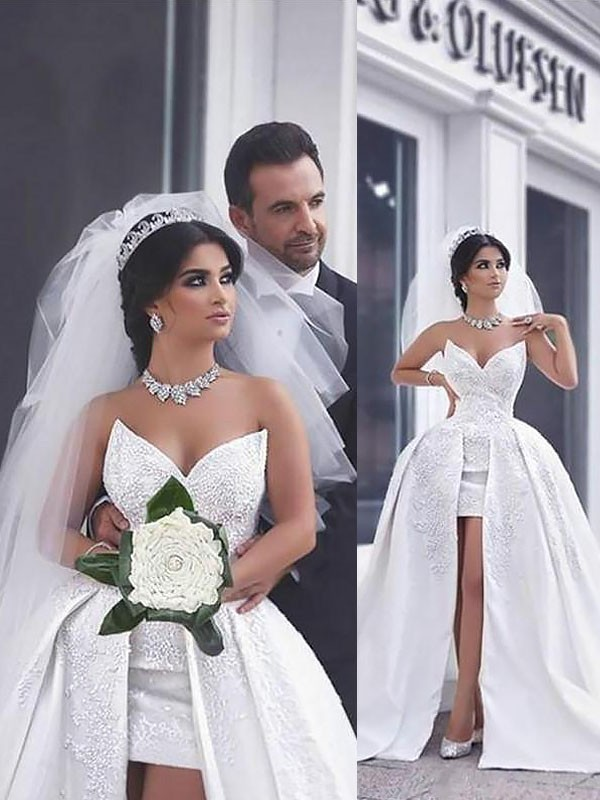 Fashion Ball Gown Satin Sleeveless Chapel Train Sweetheart Wedding Dress