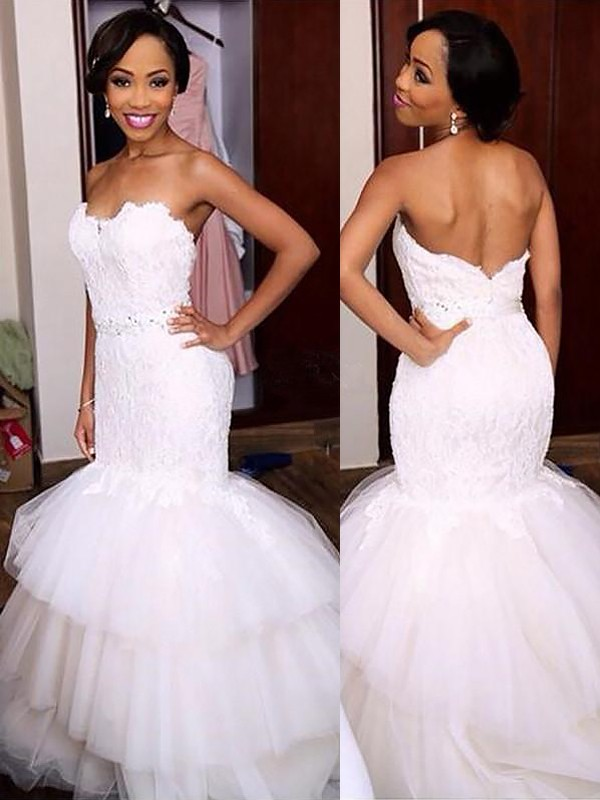 Exquisite Mermaid Sweetheart Lace Sleeveless Court Train Tulle Wedding Dress