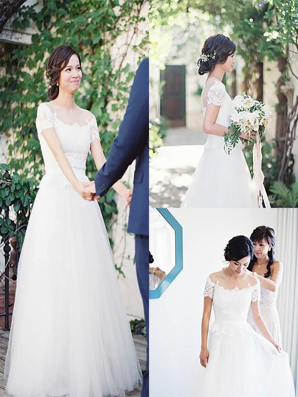 Exquisite A-Line Bateau Short Sleeves Tulle Sweep/Brush Train Wedding Dress
