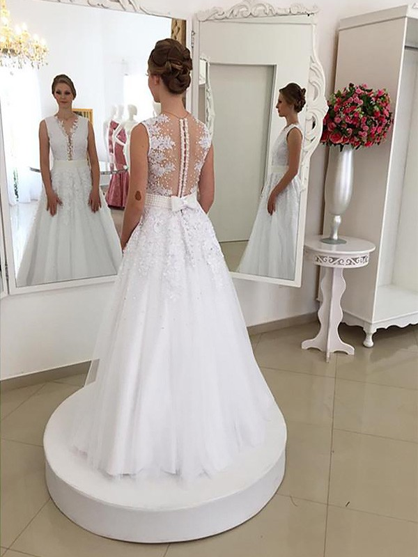 Exquisite Mermaid Sleeveless Lace Scoop Floor-Length Wedding Dress