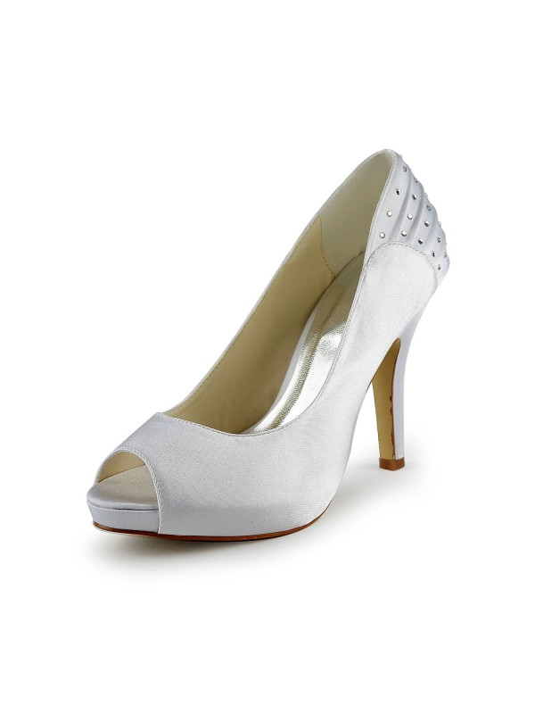 Fashion Women Satin Stiletto Heel Peep Toe White Wedding Shoes