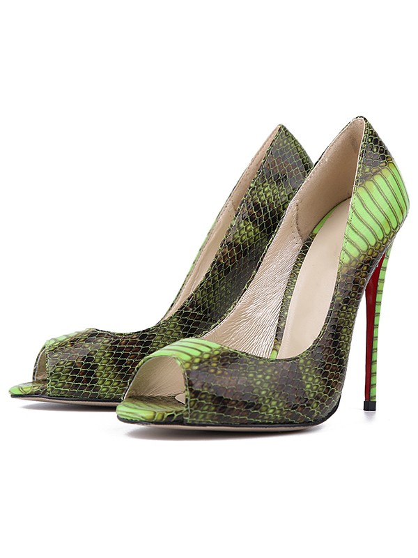 Beautiful Women Snake Print PU Peep Toe Stiletto Heel High Heels
