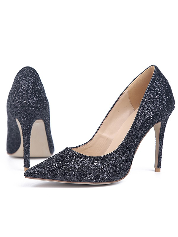 Beautiful Women Stiletto Heel Sparkling Glitter Closed Toe High Heels