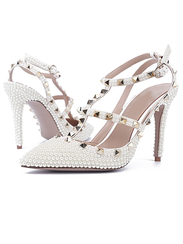 Hot Sale Women Patent Leather Stiletto Heel Closed Toe Rivet Sandals Shoes