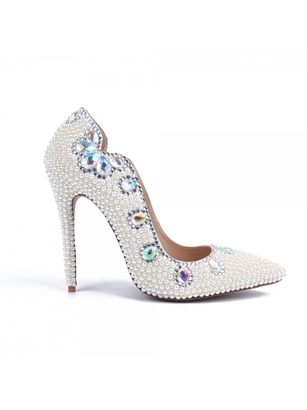 Exquisite Women Stiletto Heel Patent Leather Closed Toe Pearl White Wedding Shoes