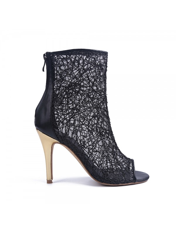 Hot Sale Women Lace Peep Toe Stiletto Heel Zipper Party Sandal Ankle Black Boots
