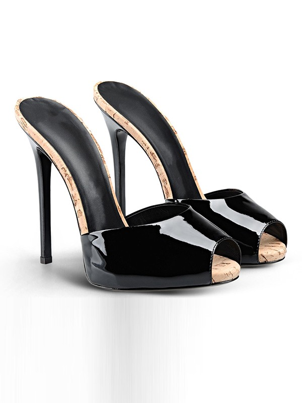 Hot Sale Women Patent Leather Peep Toe Stiletto Heel Sandals Shoes