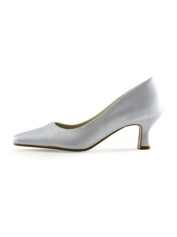 Exquisite Women Satin Upper Chunky Heel Pointed Toe White Wedding Shoes