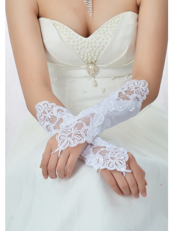 Beautiful Lace Satin Wedding Glove