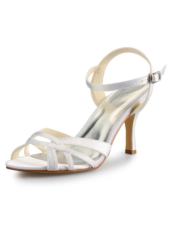 Classical Women Stiletto Heel Peep Toe Satin Buckle Sandal Dance Shoes