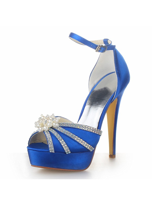 Classical Women Satin Stiletto Heel Platform Peep Toe Pearl Royal Blue Wedding Shoes