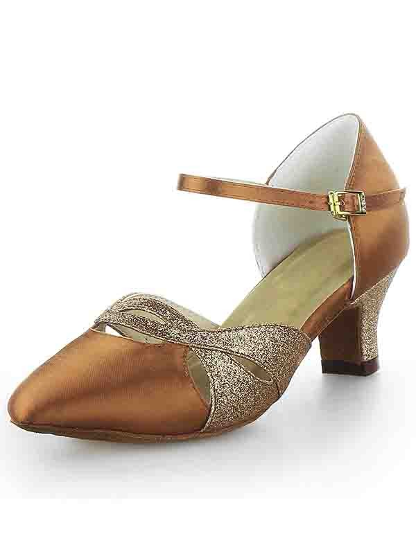 Classical Women Satin Closed Toe Chunky Heel Buckle Sparkling Glitter Dance Shoes