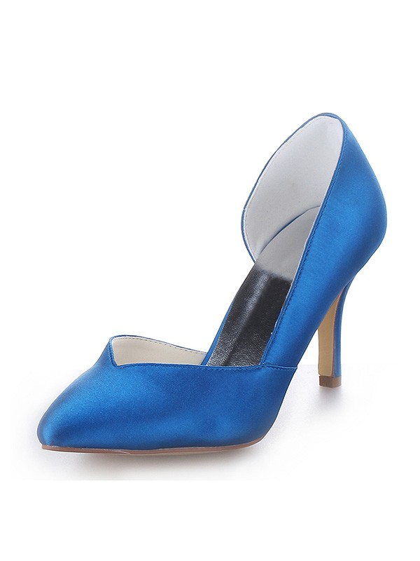 Stylish Women Cone Heel Satin Closed Toe High Heels