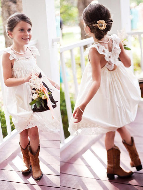 Beautiful A-Line Sleeveless Square Knee-Length Lace Chiffon Flower Girl Dress