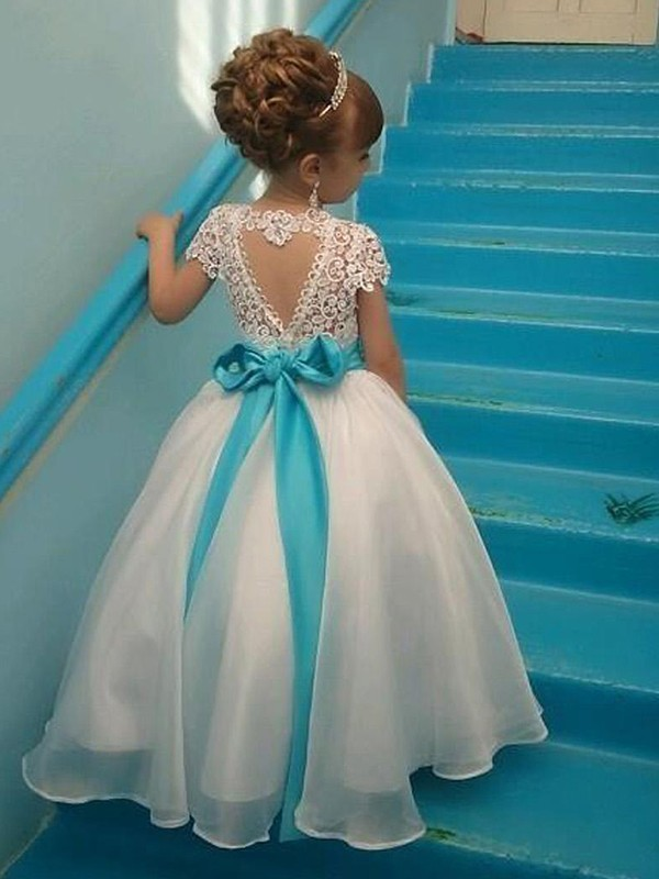New Ball Gown Short Sleeves Scoop Floor-Length Organza Flower Girl Dress