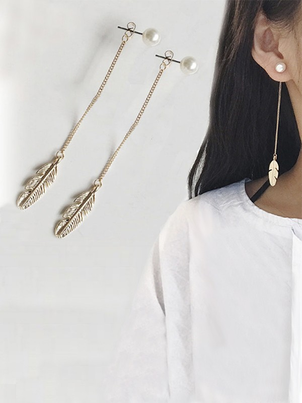 New Hot Sale Vintage Long Chain Leaf With Pearl Earrings