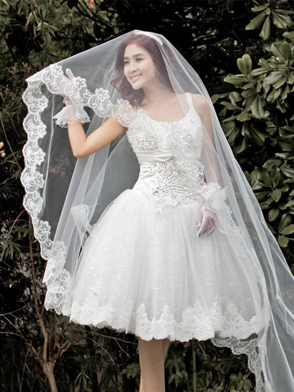 Perfect Tulle With Lace Wedding Veil