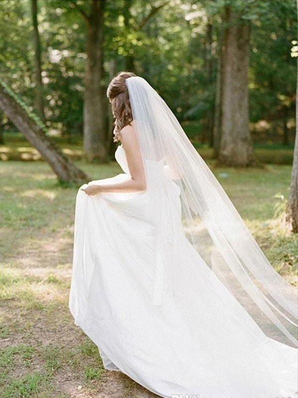 Cheap Tulle Long Wedding Veil