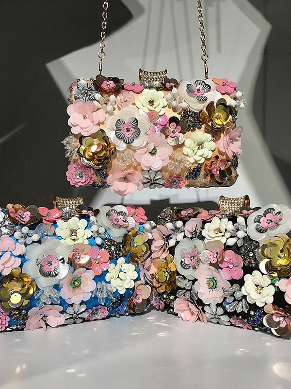 New Beading With Flowers Evening/Party Handbag