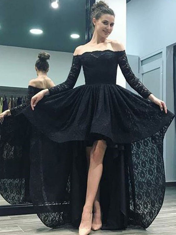 Exquisite A-Line Off-the-Shoulder Long Sleeves Sweep/Brush Train Asymmetrical Lace Dress