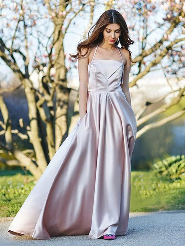 Stunning A-Line Halter Sleeveless Sweep/Brush Train Satin Dress