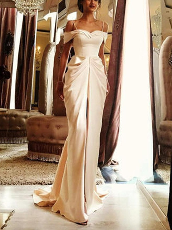 Amazing Sheath Sweep/Brush Train Off-the-Shoulder Short Sleeves Silk like Satin Wedding Dress