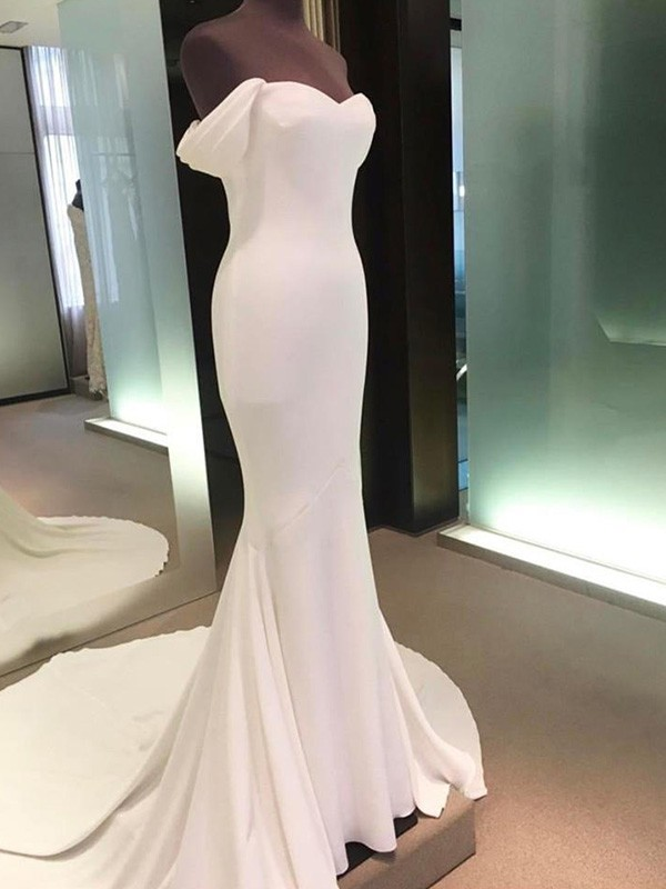 Stunning Sheath Off-the-Shoulder Short Sleeves Court Train Spandex Wedding Dress