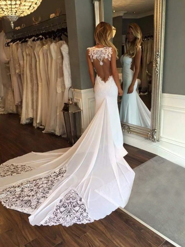 Amazing Mermaid Sleeveless Sweetheart Cathedral Train Lace Wedding Dress