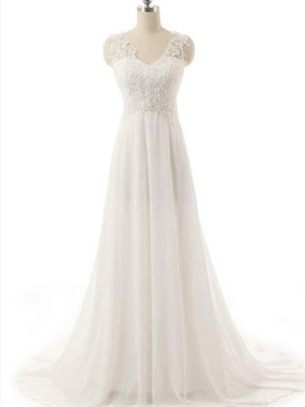 Glamorous A-Line V-neck Sleeveless Sweep/Brush Train Lace Chiffon Wedding Dress