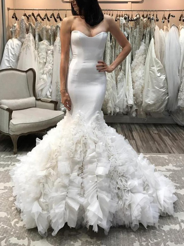 Beautiful Mermaid Sweetheart Sleeveless Court Train Organza Wedding Dress