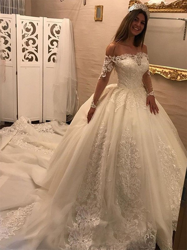 Perfect Ball Gown Off-the-Shoulder Long Sleeves Cathedral Train Tulle Wedding Dress