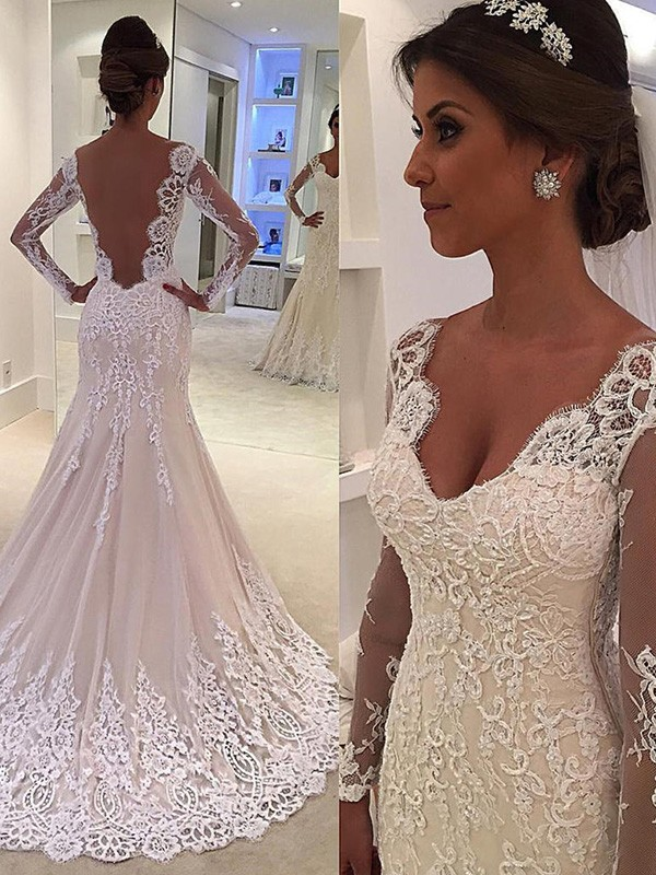 Gorgeous Mermaid Long Sleeves V-neck Court Train Lace Wedding Dress