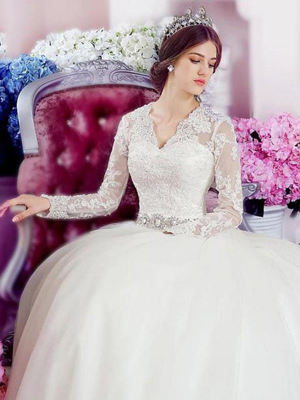 Chic A-Line Long Sleeves V-neck Cathedral Train Lace Tulle Wedding Dress