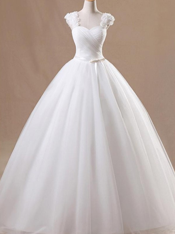 Affordable Ball Gown Sleeveless Square Floor-Length Tulle Wedding Dress