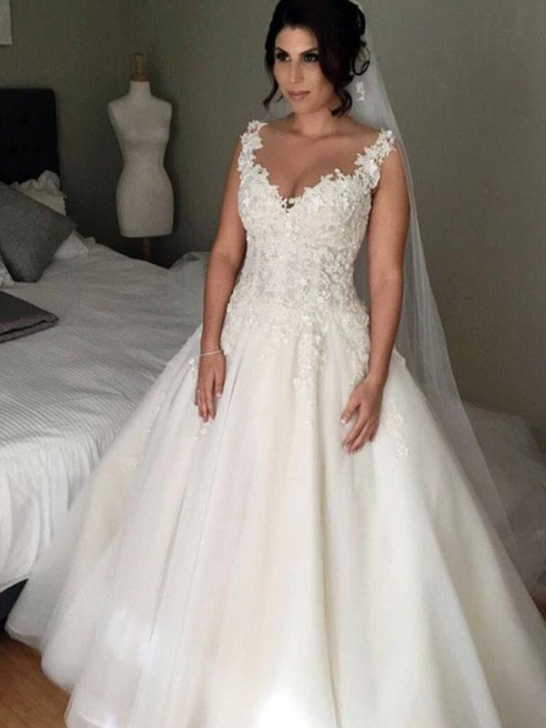 Perfect Ball Gown Sleeveless V-neck Court Train Lace Tulle Wedding Dress