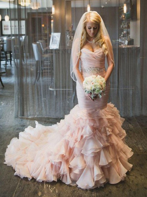 Discount Mermaid Sleeveless Sweetheart Court Train Organza Wedding Dress