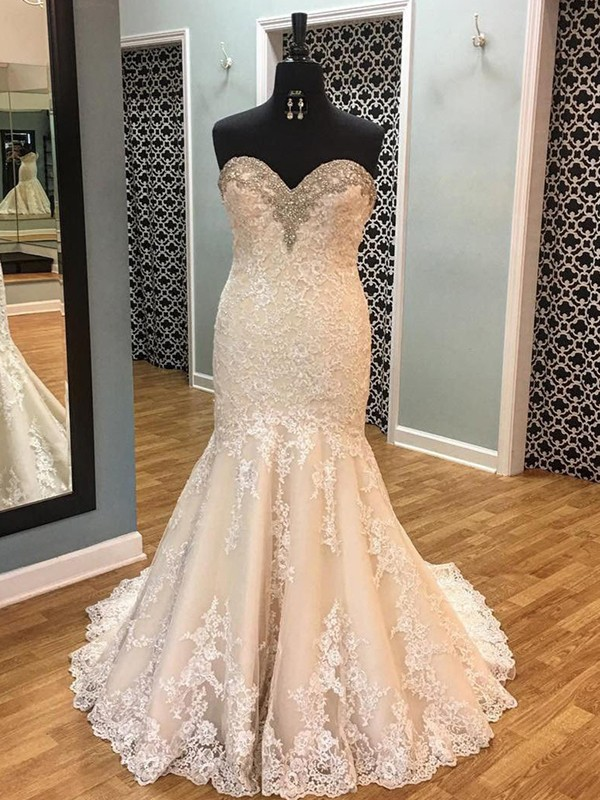 Beautiful Mermaid Sleeveless Tulle Sweetheart Court Train Wedding Dress