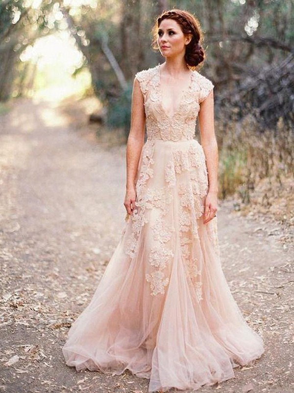 Affordable A-Line Tulle V-neck Sleeveless Sweep/Brush Train Wedding Dress