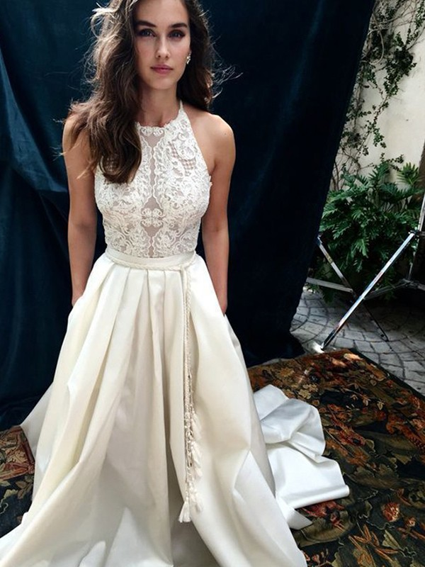 Nice A-Line Satin Lace Halter Sleeveless Chapel Train Wedding Dress