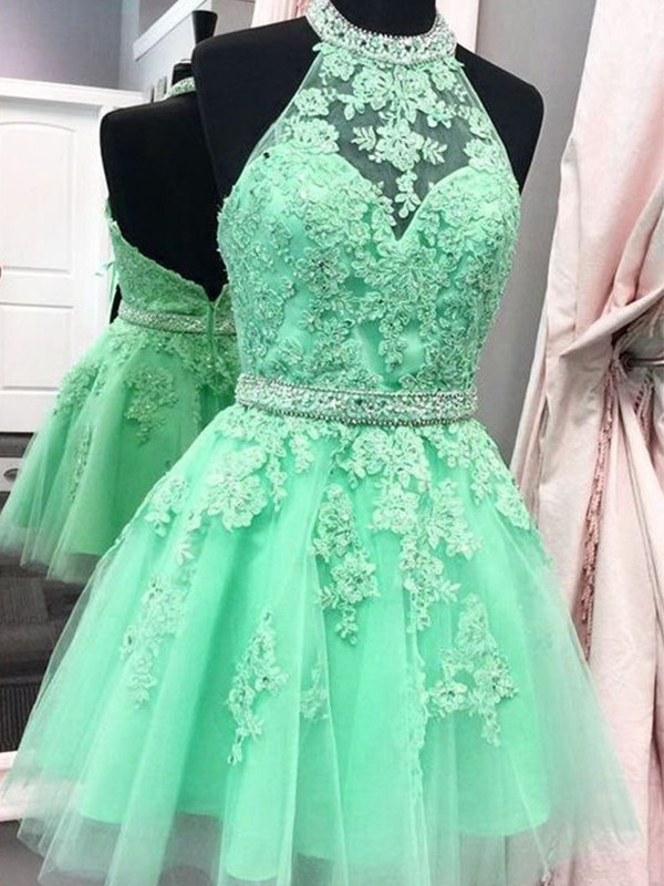 Gorgeous A-Line Halter Tulle Short Dress