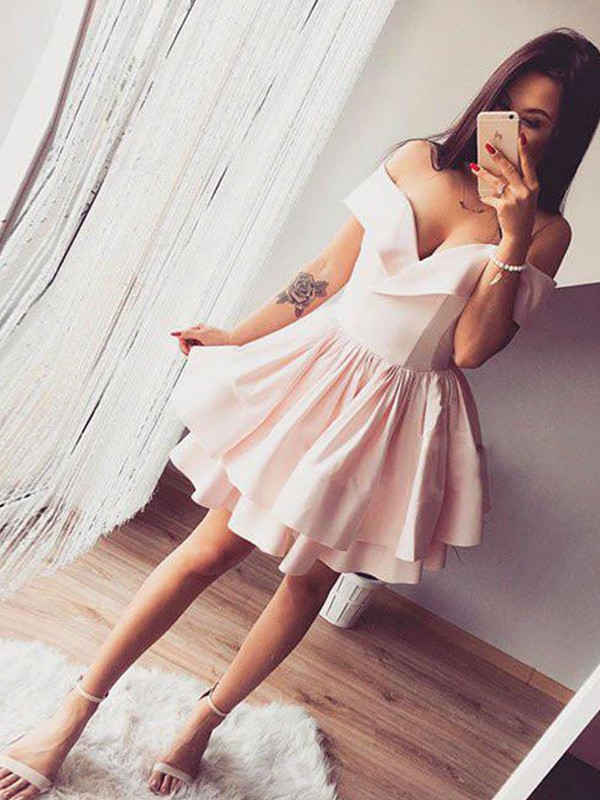 New A-Line Off-the-Shoulder Satin Short Dress