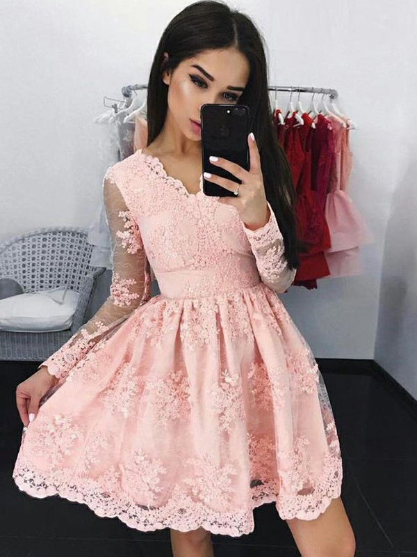 Gorgeous A-Line Lace Long Sleeves V-neck Short Dress