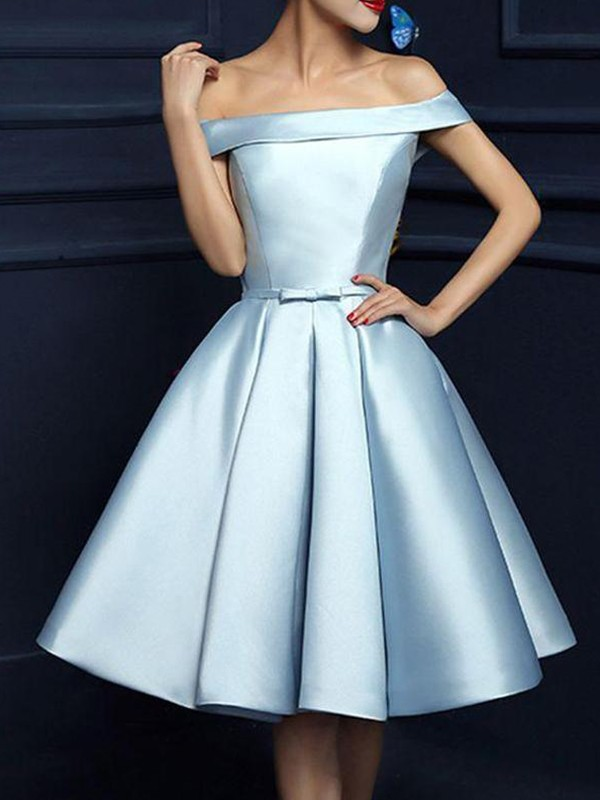 Stunning A-Line Satin Off-the-Shoulder Sleeveless Knee-Length Dress