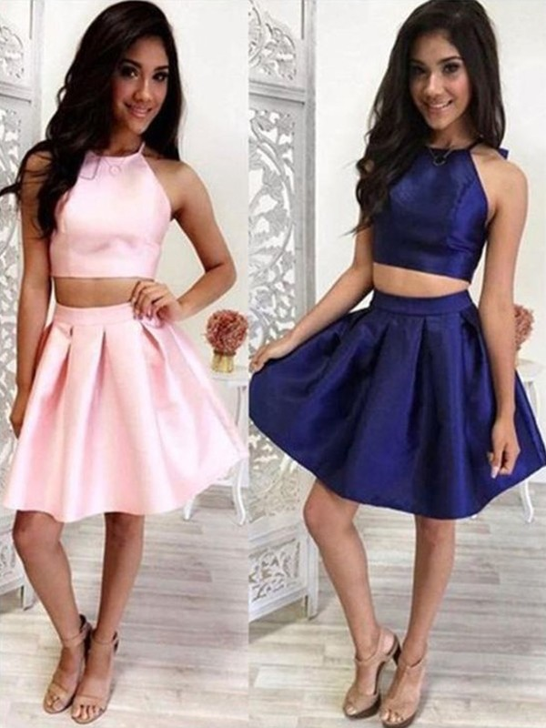 Chic A-Line Halter Satin Sleeveless Short Two Piece Dress